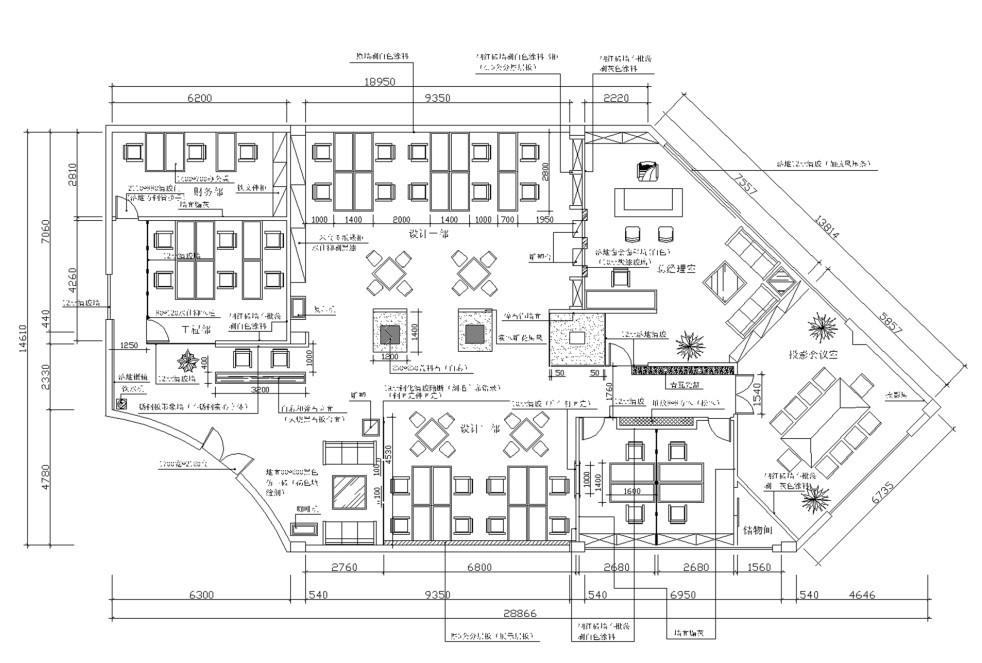 现代简约主义办公室设计平面图布置