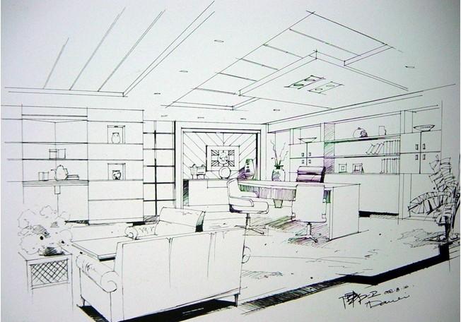 办公室设计手绘图 -迪家装饰客服