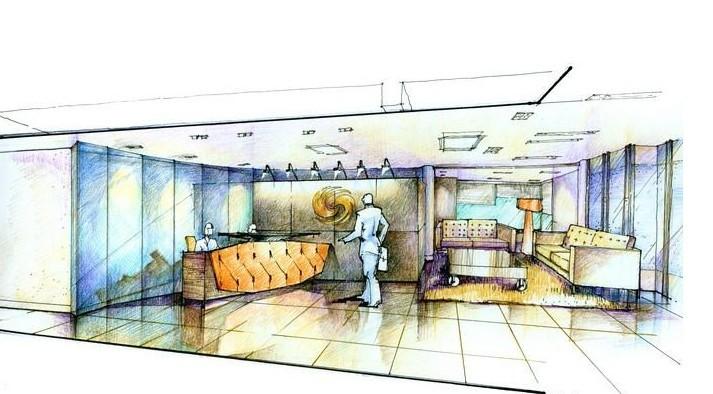 办公室设计手绘图,办公室设计呈现的设计效果图以手绘的方式还是比较少的,办公室设计的负责人员不是个人而且从集团考虑,手绘图呈现的效果不是很直观所以目前办公室设计还是以效果图居多,手绘图运用在别墅装饰设计中还是比较普遍的,今天上海办公室装修公司小迪就给大家呈现出几幅比较简单的办公室设计手绘图。