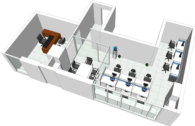 办公室装修立体效果图,这套办公室装修立体效果图的绘制案例是飞雕商务大厦办公室设计时绘制的立体效果图,飞雕商务大厦由A、B两栋高层建筑组成,A座是全产权、高标准的酒店物业(五星级装修标准),B座是4A级的精装修产权智慧写字楼,这是一种目前国际上时兴的商务生活方式,也是一种新出现到现在仍少有的物业类型,具有广阔的发展前景,这处办公室是业主自己购买的产权且用来自己办公使用虽然是精装修但是业主认为不符合自己的企业文化和档次所以精装修办公室全部翻新,迪家装饰公司负责设计、施工、软装饰一体服务。下面上海办公室装修公司