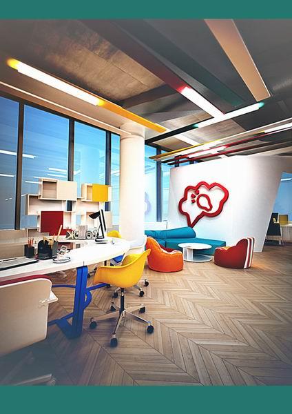 """办公空间设计了曲线优美的""""活动墙"""""""