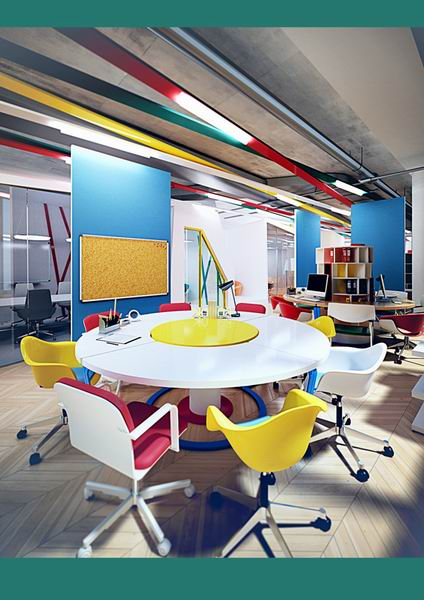 """办公空间设计了曲线优美的""""活动墙"""",使办公室的功能分区更加灵活."""
