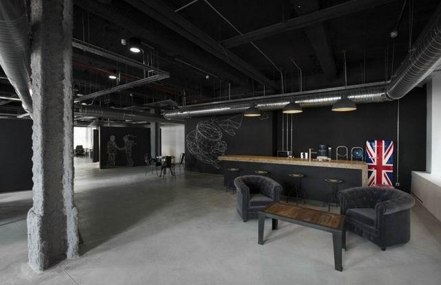 户型主题设计空间装修-办公室办公前沿高挑黑色装修设计图图片