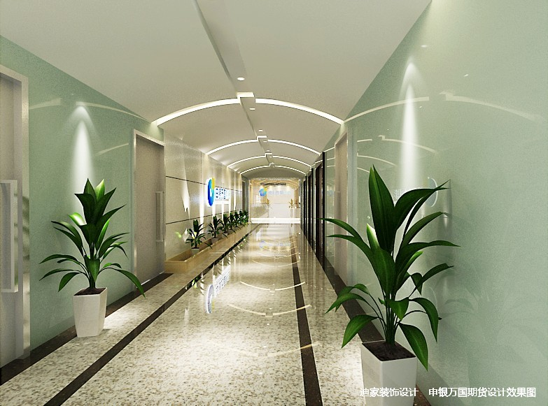 办公室走廊设计方案4:同样这个走廊整体设计的墙体色彩也是两种