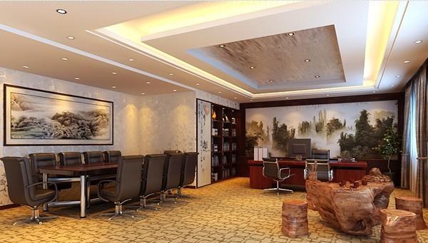 现代中式总经理办公室装修,中式经理室的一角有小型会议室和接待区域
