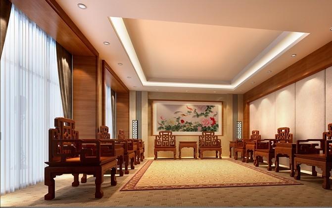 贵宾会议室装修效果图,中式的座椅以及中式的茶几整个贵宾会议室的
