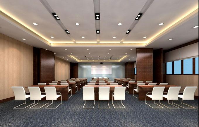 这个视频会议室内不仅有会议椅而且还有会议桌比较人性化的设计,图片