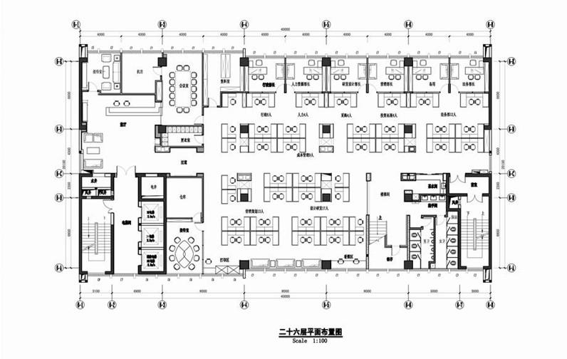 三层办公楼室内装修平面图