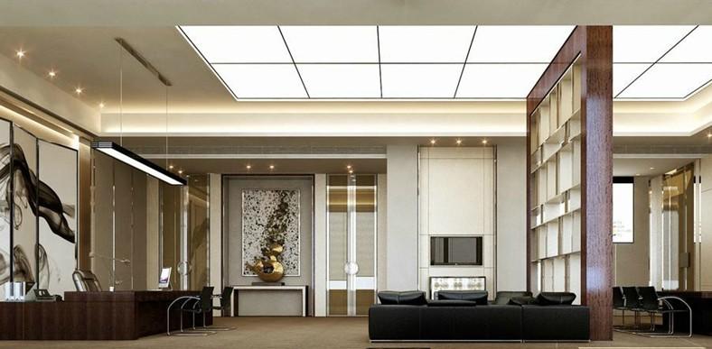 信托局公司办公室设计装修,这个信托局办公室设计方案中设计师所设计的办公空间具有极佳的隔音性能,它们由不透明隔板或者透明玻璃所围住,并面向一条主要的交通流线,此交通流线并非一条单纯的走廊,它串联了几个特殊的区域,例如:陈列艺术品的展览区、自动贩卖冷热饮料休息区、影印区等,促进了整体办公空间的交流。