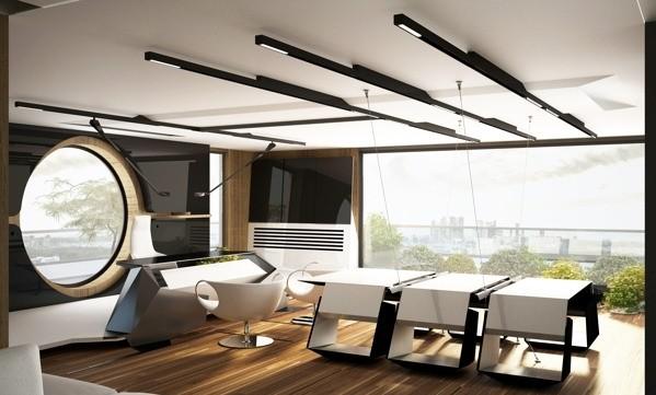 这是小迪摘选的办公室装修案例中比较具有未来感和张力的办公空间设计