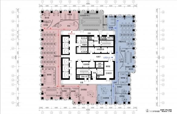 1800平米办公室平面设计布局