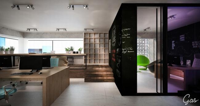 国外广告代理公司办公室设计,正对着玻璃入口的是一片绿油油的植物墙,令人不禁有走进去的冲动,前台的造型也是相当前卫时尚,楼梯则选用线条简洁色彩干净的黑钢材料,同样是前卫风格的主要元素之一。整个空间处处色彩纷呈,企业文化在设计师手中得到了充分的体现。  国外广告代理公司办公室设计  国外广告代理公司办公室设计  国外广告代理公司办公室设计