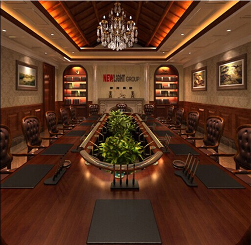中国古典艺术办公室装修风格,办公室空间划分大中型会议室、多功能厅,娱乐休闲厅等,空间宽敞,设计师利用富于动感的艺术境界诠释着中国古典艺术风格。 大堂富丽堂皇,气势宏大,大堂正中,金顶吊灯彰显办公楼室内设计的休闲区中式设计幽暗深沉,深邃神韵,格格状的吊灯与吊顶凝聚一起,形成一道亮丽的风景线。