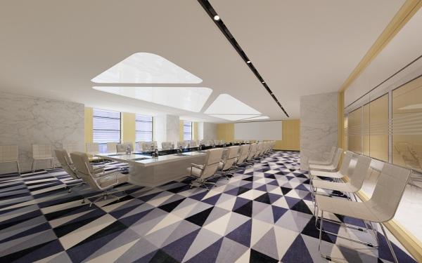 集团公司室内装修效果图-大型办公室