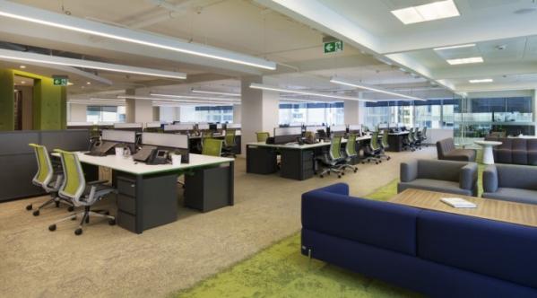 用地毯划分办公室空间设计效果图