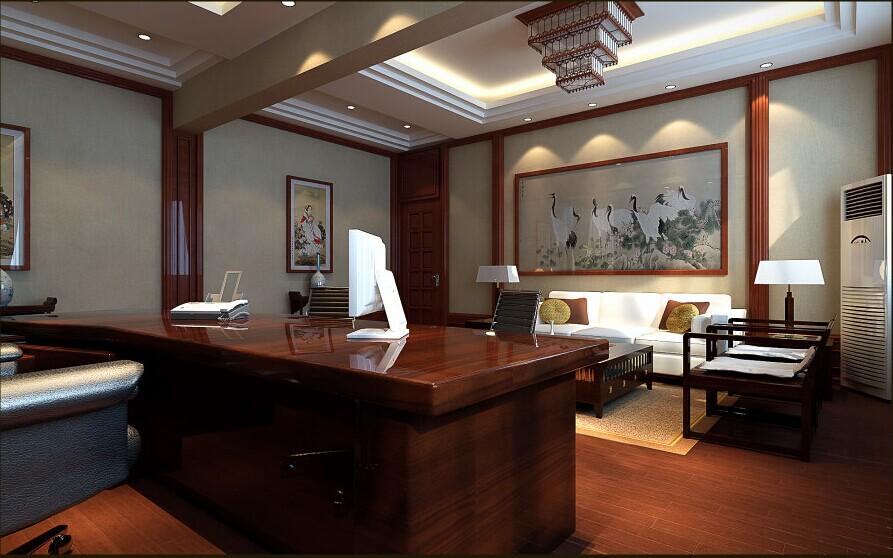 总经理办公室设计以中式为主从整个空间的软装上面可以看出无论是从挂