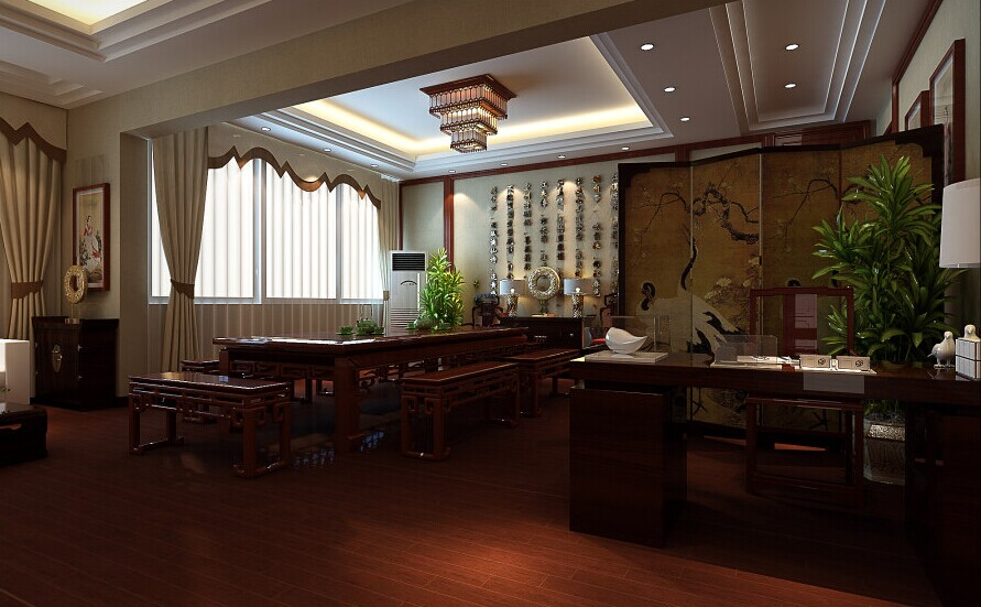 这个总经理办公室设计设计师融入了中式,欧式以及现代三大风格融汇