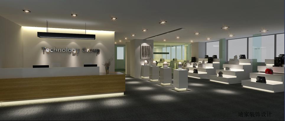 前台区域白色的背景墙放置了公司英文名称上面的灯光以及灯带的照射