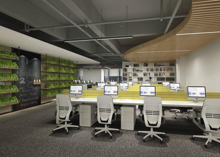 腾讯大浙网办公室设计方案,前台采用极简的设计手法对空间进行设计,由于极简自身就有聚焦的作用,这样对于企业的展示有着十分重要的作用,QQ的标志企鹅在空间最显眼的位置,让客户进入空间之后,立马就知道企业的属性,对企业有一个直观的认识,这样对于企业的品牌展示有非常重要的作用。会议室采用从内向外扩张的方式对空间进行设计,以中线向外部空间进行拓展,这样的设计可以将空间进行合理的划分与运用,同时一层一层的环形包围,可以在很大程度上增加空间的容纳能力。  腾讯大浙网办公室设计方案  腾讯大浙网办公室设计方案  腾讯大浙